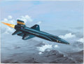 Explorers:Space Exploration, Neil Armstrong Signed Original X-15 Painting by Aviation ArtistRaymond Waddey....