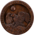 Explorers:Space Exploration, Apollo 11 Hand-Carved Wooden Mission Insignia by Anneli Bonn,Originally from the Personal Collection of Buzz Aldrin. ...