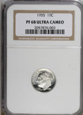 Proof Roosevelt Dimes: , 1955 10C PR68 Deep Cameo NGC. NGC Census: (14/7). PCGS Population(8/0). (#95230)...