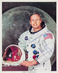 Autographs:Celebrities, Neil Armstrong Signed White Spacesuit Color Photo, with PSA/DNA LOA. ...