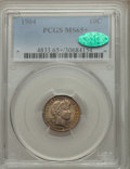 Barber Dimes, 1904 10C MS65+ PCGS. CAC....