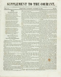 Books:Periodicals, [Harriet Beecher Stowe] [Periodical] Supplement to TheCourant. October 12, 1844. Contains A Sketch of WesternMis...