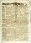 Books:Periodicals, [Harriet Beecher Stowe] [Newspaper] The Saturday EveningPost. Philadelphia, February 27, 1858. Contains a story by ...