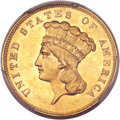 Three Dollar Gold Pieces, 1856-S $3 MS61 PCGS....