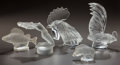 Art Glass:Lalique, FIVE LALIQUE CLEAR AND FROSTED GLASS MASCOTS. Coq Nain, Tete DeCoq, Sanglier, Perche, Chrysis.. Post 1945. All engraved...(Total: 5 Items)