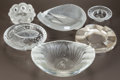Art Glass:Lalique, SIX LALIQUE CLEAR AND FROSTED GLASS ASHTRAYS. Post 1945. Allengraved Lalique, France. L. 8-3/4 in. (largest). ... (Total: 6Items)