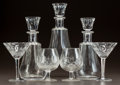 Art Glass:Other , THREE BACCARAT CUT-GLASS CARAFES AND THREE WATERFORD STEMS. Circa1930. Carafes stenciled BACCARAT, Stems stenciled Waterf...(Total: 10 Items)