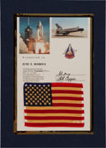 Explorers:Space Exploration, Space Shuttle Columbia (STS-1) Flown American Flag onPresentation Certificate. ...