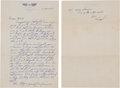"Autographs:Celebrities, Gus Grissom Early Autograph Letter Signed to His Mother, Signed ""Virgil"". ..."