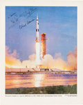 Autographs:Celebrities, Apollo 11 Crew-Signed NASA Color Launch Photo....