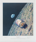 "Explorers:Space Exploration, Alan Bean Signed Limited Edition ""Homeward Bound"" Print, alsoSigned by Apollo 8 Astronauts Frank Borman and James Lovell, #AP..."