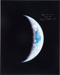 Autographs:Celebrities, Michael Collins Signed Apollo 11 Large Crescent Earth Color Photograph. ...
