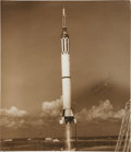 Explorers:Space Exploration, Alan Shepard Signed Large Mercury-Redstone 3 (Freedom 7) Launch Photo....