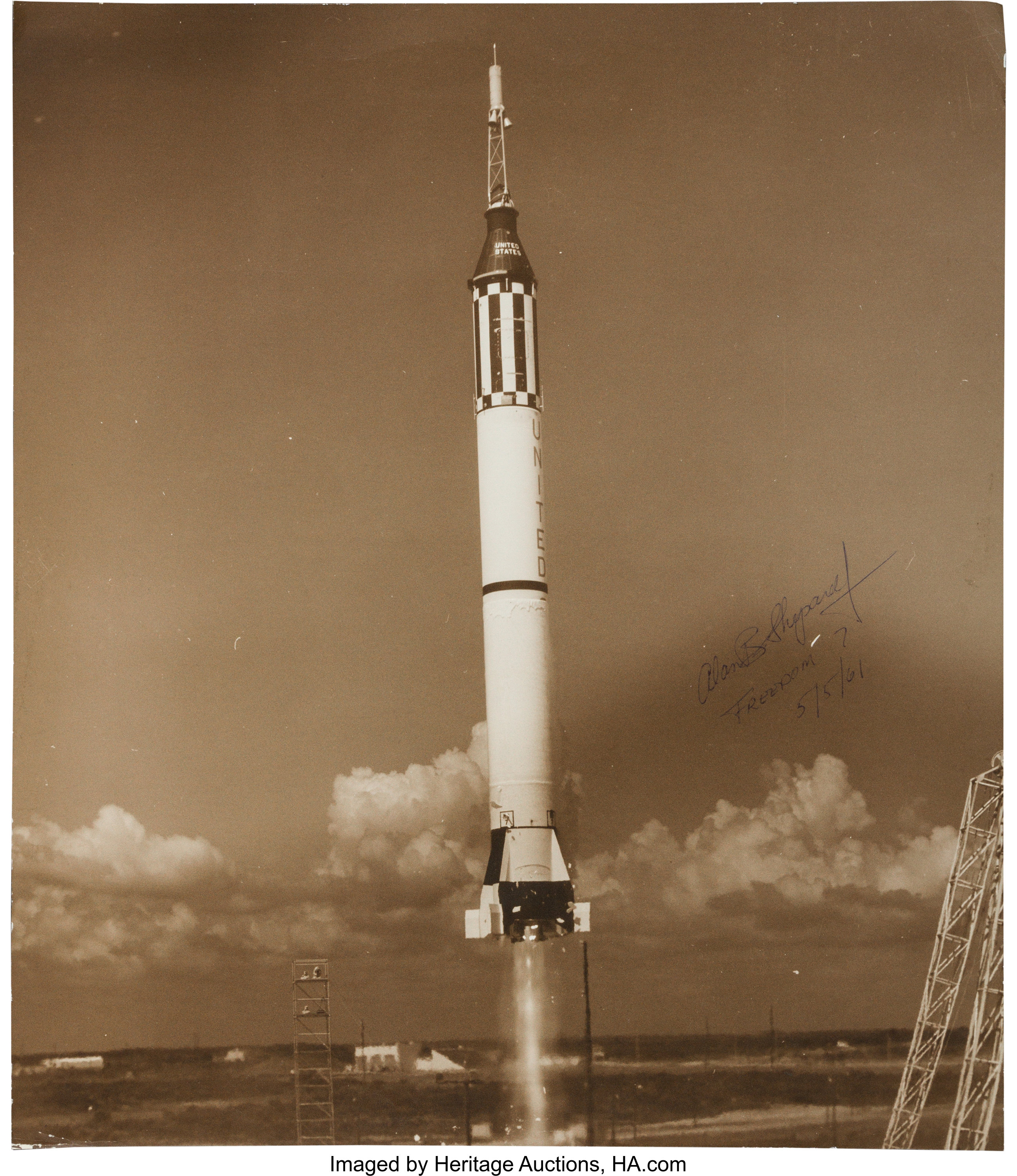 Alan Shepard Signed Large Mercury-Redstone 3 (Freedom 7) Launch ...