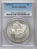 Morgan Dollars: , 1878-S $1 MS64 Prooflike PCGS. PCGS Population (471/144). NGC Census: (703/222). Numismedia Wsl. Price for problem free NG...