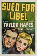 """Movie Posters:Crime, Sued for Libel (RKO, 1939). One Sheet (27"""" X 41""""). Crime.. ..."""