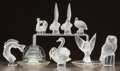 Art Glass:Lalique, NINE LALIQUE CLEAR AND FROSTED GLASS TABLE ARTICLES. Seven animalpaperweights, 1 dove ashtray, 1 galleon ashtray.. Post 194...(Total: 9 Items)