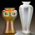 Art Glass:Other , TWO LUSTRE GLASS VASES. Circa 1910.. Ht. 12-1/4 in.. ... (Total: 2 Items)