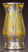 Art Glass:Other , AN AUSTRIAN LUSTRE GLASS AND SILVER OVERLAY CABINET VASE. Circa1910.. Ht. 4-7/8 in.. ...