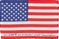 Explorers:Space Exploration, Apollo 7 Flown American Flag Originally from the Personal Collection of Mission Lunar Module Pilot Walt Cunningham, Signed and...