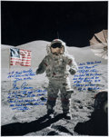 Autographs:Celebrities, Gene Cernan Signed Lunar Surface Large Color Photo with ExtensiveHandwritten Quote.... (Total: 9 Items)