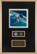 "Explorers:Space Exploration, Ed White II Signed Original NASA ""Red Number"" EVA Color Photo on Framed Display with Gemini 4 and Apollo 1 Fliteline Medallion..."