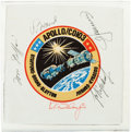 Explorers:Space Exploration, Apollo-Soyuz Crew-Signed Flown Beta Cloth Mission InsigniaPatch....