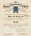 Explorers:Space Exploration, Wally Schirra: Society of Experimental Test Pilots MembershipCertificate Originally from his Personal Collection, Signed....