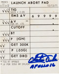 """Explorers:Space Exploration, Apollo 16 Training-Used """"Launch Abort Pad"""" Cue Card, Signed byCharlie Duke. ..."""