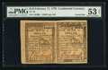 Colonial Notes:Continental Congress Issues, Continental Currency February 17, 1776 $1/6 Horizontal Pair PMG About Uncirculated 53 EPQ.. ...