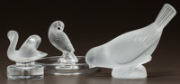 THREE LALIQUE CLEAR AND FROSTED TABLE ARTICLES Partridge ashtray, swan paperweight, sparrow mascot paperweight
