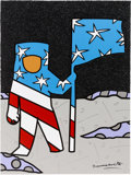 "Explorers:Space Exploration, Romero Britto Signed Limited Edition ""Buzz Aldrin Space Series VI""Mixed Media Giclée Canvas, #20/66, Also Signed by Buzz ..."