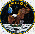 "Explorers:Space Exploration, Robert Holton Signed ""Apollo 11 Insignia"" Drizzle Art Canvas, #1/1,Originally from the Personal Collection of Buzz Aldrin. ..."