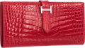 """Luxury Accessories:Bags, Hermes Braise Niloticus Crocodile Bearn Wallet with Palladium Hardware. Pristine Condition. 7"""" Width x 3.5"""" Length x ...."""