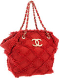 """Luxury Accessories:Bags, Chanel Red Tweed Shoulder Bag with Gold Hardware. Very GoodCondition. 11"""" Width x 13"""" Height x 6"""" Depth. ..."""