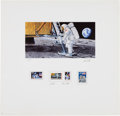 """Explorers:Space Exploration, Paul & Chris Calle Signed Limited Edition """"First Man on theMoon"""" Color Print, #30/100, with Four Mint U.S. Stamps. ..."""