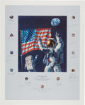 "Explorers:Space Exploration, Alan Bean Signed Limited Edition ""In the Beginning..."" Print, Signed by a Total of Twenty Apollo Astronauts, #AP80/150, Origin..."