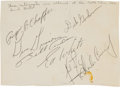 Autographs:Celebrities, Apollo 1 Crew, Neil Armstrong, Bill Anders, Charles Conrad, and Dick Gordon Signatures on Single Sheet....