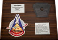 Explorers:Space Exploration, Space Shuttle Columbia (STS-1) Flown Brake Disk Segment onB. F. Goodrich Presentation Plaque. ...