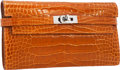 """Luxury Accessories:Bags, Hermes Shiny Pain d' Epices Alligator Kelly Long Wallet withPalladium Hardware. Pristine Condition. 8"""" Width x 4.5""""H..."""