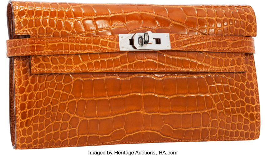 Hermes Shiny Pain d  Epices Alligator Kelly Long Wallet  bcd9f27151a25