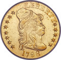 Early Half Eagles, 1798 $5 Large Eagle, Large 8, 13 Star Reverse AU55 PCGS. CAC. BD-4, High R.4....