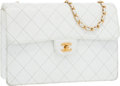 """Luxury Accessories:Bags, Chanel White Quilted Caviar Leather Jumbo Flap Bag with GoldHardware. Good Condition. 12"""" Width x 8"""" Height x 5""""Dept..."""