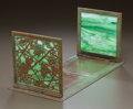 Art Glass:Tiffany , TIFFANY STUDIOS GLASS AND BRONZE GRAPEVINE PATTERN FOLDINGBOOK STAND. Circa 1915. Stamped TIFFANY STUDIOS, NE...