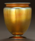 Art Glass:Steuben, STEUBEN GLASS GOLD AURENE VASE. Circa 1920. Engraved: aurene,938, STEUBEN (original sticker), . Ht. 7-1/8 in.. ...