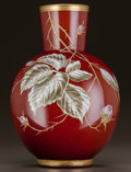 Art Glass:Other , HARRACH BOHEMIAN ENAMELED GLASS VASE. Circa 1900. Enameled h.4.. Ht. 12 in.. ...