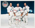 Autographs:Celebrities, Apollo 16 Crew-Signed NASA White Spacesuit Color Photo. ...