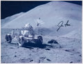 Autographs:Celebrities, Jim Irwin Signed Lunar Surface Photo of Lunar Rover....
