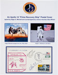 Explorers:Space Exploration, Edgar Mitchell Signed Apollo 14 Prime Recovery Ship Cover, alsoSigned by the Commanding Officer and Helicopter Recovery Pilot...