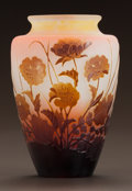 Art Glass:Galle, GALLÉ OVERLAY GLASS FLORAL VASE. Circa 1900. Cameo gallé.Ht. 5 in.. ...